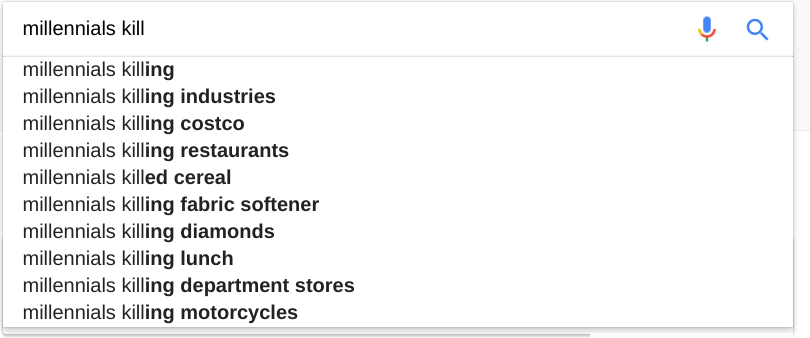 """A Google search that shows various responses to """"Millennials kill"""""""